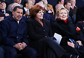 New York, NY - November 11, 2008 -- Governor David Paterson (Democrat of New York), New York City Council Speaker Christine Quinn (Democrat of New York) and United States Senator Hillary Rodham Clinton (Democrat of New York) smile on the stage  before United States President George W. Bush speaks on Veteran's Day at the rededication ceremony of the Intrepid Sea, Air and Space Museum in New York City on Tuesday, November 11, 2008.<br /> Credit: John Angelillo - Pool via CNP