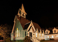 Church exterior at night, Tremont, Maine, USA