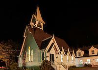 Church exterior at night, Tremont, Maine, USA