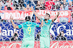 Rafinha Alcantara and Luis Suarez of Futbol Club Barcelona celebrates after scoring a goal  during the match of Spanish La Liga between Atletico de Madrid and Futbol Club Barcelona at Vicente Calderon Stadium in Madrid, Spain. February 26, 2017. (ALTERPHOTOS)