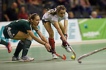 Berlin, Germany, February 01: Elisa Graeve #26 of Duesseldorfer HC in action during the 1. Bundesliga Damen Hallensaison 2014/15 final hockey match between Duesseldorfer HC (white) and HTC Uhlenhorst Muehlheim (green) on February 1, 2015 at the Final Four tournament at Max-Schmeling-Halle in Berlin, Germany. Final score 4-1 (1-0). (Photo by Dirk Markgraf / www.265-images.com) *** Local caption *** Elisa Graeve #26 of Duesseldorfer HC, Katharina Windfeder #8 of HTC Uhlenhorst Muehlheim