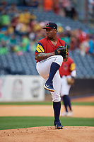 Toledo Mud Hens pitcher Gregory Soto (54) during an International League game against the Durham Bulls on July 16, 2019 at Fifth Third Field in Toledo, Ohio.  Durham defeated Toledo 7-1.  (Mike Janes/Four Seam Images)