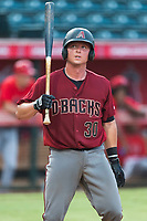 AZL Diamondbacks catcher Matt Jones (30) at bat during an Arizona League game against the AZL Angels at Tempe Diablo Stadium on July 16, 2018 in Tempe, Arizona. The AZL Diamondbacks defeated the AZL Angels by a score of 4-3. (Zachary Lucy/Four Seam Images)