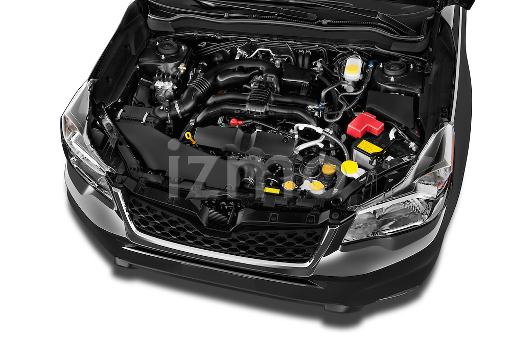 Car stock 2015 Subaru Forester 2.5I Pzev 5 Door SUV engine high angle detail view
