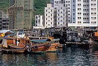 Hong Kong: Aberdeen--old housing and new. Photo '81.