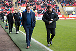 Aberdeen v St Johnstone…29.04.17     SPFL    Pittodrie<br />All smiles on the faces of Tommy Wright and Callum Davidson<br />Picture by Graeme Hart.<br />Copyright Perthshire Picture Agency<br />Tel: 01738 623350  Mobile: 07990 594431