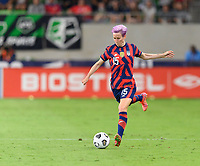 AUSTIN, TX - JUNE 16: Megan Rapinoe #15 of the United States passes the ball to a teammate during a game between Nigeria and USWNT at Q2 Stadium on June 16, 2021 in Austin, Texas.