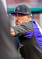 29 July 2017: Colorado Rockies outfielder Ian Desmond in the dugout during a game against the Washington Nationals at Nationals Park in Washington, DC. The Rockies defeated the Nationals 4-2 in the first game of their 3-game weekend series. Mandatory Credit: Ed Wolfstein Photo *** RAW (NEF) Image File Available ***