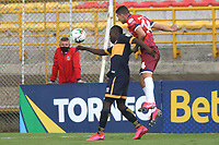 BOGOTA - COLOMBIA, 12-10-2020: Fortaleza CEIF  y Boca Juniors de Cali en partido por la fecha 12 del Torneo BetPlay DIMAYOR I 2020 jugado en el estadio Metropolitano de Techo de la ciudad de Bogota. / Fortaleza CEIF and Boca Juniors de Cali in match for the date 12 as part of BetPlay DIMAYOR Tournament I 2020 played at the Metropolitano de Techo stadium of Bogota city. Photos: VizzorImage / Daniel Garzon  / Contribuidor