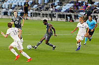 ST PAUL, MN - SEPTEMBER 06: Kevin Molino #7 of Minnesota United FC passing the ball during a game between Real Salt Lake and Minnesota United FC at Allianz Field on September 06, 2020 in St Paul, Minnesota.