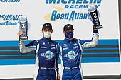 #73 LA Honda World Racing Honda Civic TCR, TCR: Mike LaMarra, Mathew Pombo, podium