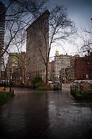 Moody and rainy Flatiron building, Manhattan, NYC