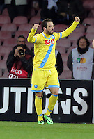 Thursday 27 February 2014<br /> Pictured: Gonzalo Higuain of Napoli celebrating his goal making the score 2-1 to Napoli<br /> Re: UEFA Europa League, SSC Napoli v Swansea City FC at Stadio San Paolo, Naples, Italy.