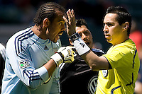 DC goalkeeper Josh Wicks argues with center ref Jair Mrrufo. The LA Galaxy and DC United play to 2-2 draw at Home Depot Center stadium in Carson, California on Sunday March 22, 2009.