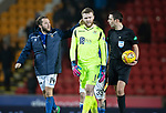 St Johnstone v Aberdeen…..24.11.19   McDiarmid Park   SPFL<br />Stevie May gives  Zander Clark a pat on the back at full time as he made some great saves to keep saints in the game after going down to nine men<br />Picture by Graeme Hart.<br />Copyright Perthshire Picture Agency<br />Tel: 01738 623350  Mobile: 07990 594431