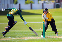 Jess McFadyen attempts to run out Kerry Tomlinson during the women's Hallyburton Johnstone Shield one-day cricket match between the Wellington Blaze and Central Hinds at Donnelly Park in Levin, New Zealand on Sunday, 6 December 2020. Photo: Dave Lintott / lintottphoto.co.nz