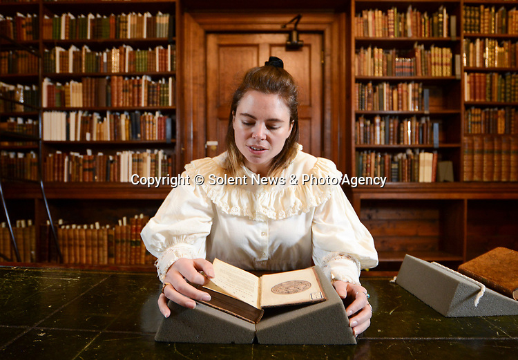 Pictured: Clio O'Sullivan performing a 'condition check' which entails an extensive note taking process of the condition the book arrives in.<br /> <br /> Chawton house has recently received a set of rare 1st edition William Cowper Poem books, which Jane Austin most likely read extensively during her time staying at the house. This was to thanks to 'Friends of the National Libraries' and the 'Godmersham Lost Sheep Society'. <br /> <br /> These exact books once belonged to Jane Austins brother, Edward Austen Knight, who inherited the estate. These books contain a bookplate belonging to Jane Austin's great nephew George Montagu Knight, as well as a shelf mark signifying where the books sat in the family library.<br /> <br /> © Ewan Galvin/Solent News & Photo Agency<br /> UK +44 (0) 2380 458800