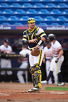 Michigan Wolverines catcher Harrison Wenson (7) during the first game of a doubleheader against the Canisius College Golden Griffins on June 20, 2016 at Tradition Field in St. Lucie, Florida.  Michigan defeated Canisius 6-2.  (Mike Janes/Four Seam Images)