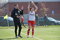 Maite De Baets (16) of Zulte-Waregem and headcoach Angelo Gaytant of Zulte-Waregem  pictured during a female soccer game between SV Zulte - Waregem and Eendracht Aalst on the 17 th matchday of the 2020 - 2021 season of Belgian Scooore Womens Super League , saturday 20 th of March 2021  in Zulte , Belgium . PHOTO SPORTPIX.BE | SPP | DIRK VUYLSTEKE