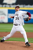 Grant Gordon (35) of the Missouri State Bears winds up during a game against the Oral Roberts Golden Eagles on March 27, 2011 at Hammons Field in Springfield, Missouri.  Photo By David Welker/Four Seam Images
