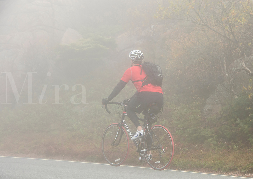 Touring biker climbs cadillac Mountain in fog, Acadia, Maine, USA