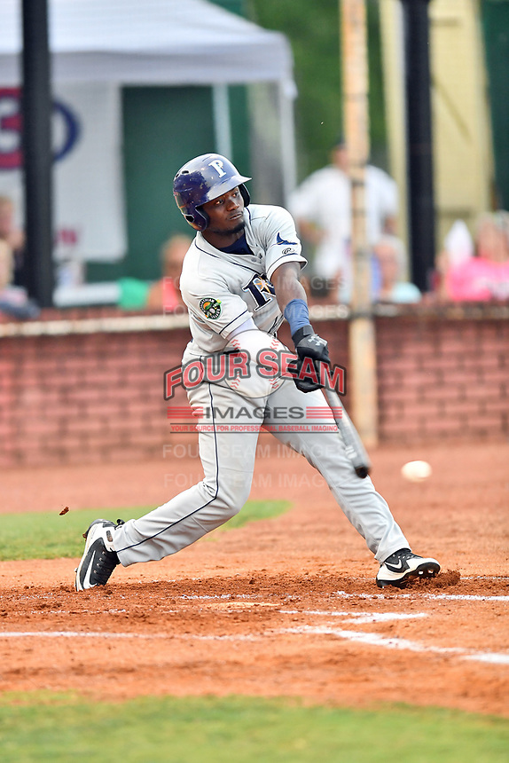 Princeton Rays right fielder Tony Pena (7) swings at a pitch during game two of the Appalachian League Championship Series against the Elizabethton Twins at Joe O'Brien Field on September 5, 2018 in Elizabethton, Tennessee. The Twins defeated the Rays 2-1 to win the Appalachian League Championship. (Tony Farlow/Four Seam Images)