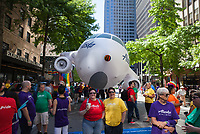 Alaska Airlines float and employees, Seattle Pride Parade 2016, Washington, USA.