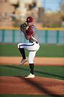 Alexander Maximus Briggs (1) of Canutillo High School in EL Paso, Texas during the Baseball Factory All-America Pre-Season Tournament, powered by Under Armour, on January 13, 2018 at Sloan Park Complex in Mesa, Arizona.  (Zachary Lucy/Four Seam Images)