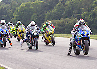 Matt Mladin leads the bikes off the grid at the start of the American Superbike race at the Suzuki Big Kahuna Nationals, Virginia International Raceway, Alton, VA, August 2009. (Photo by Briain Cleary/www.bcpix.com)