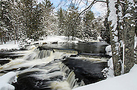 Fresh snow on along the river at Upper Bond Falls. Paulding, MI
