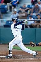 Jack Reinheimer #29 of the Everett AquaSox bats against the Tri-City Dust Devils at Everett Memorial Stadium on July 24, 2013 in Everett, Washington. Tri-City defeated Everett, 3-1. (Larry Goren/Four Seam Images)