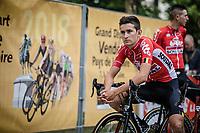 Tiesj Benoot (BEL/Lotto Soudal) awaiting the team presentation.<br /> <br /> <br /> Le Grand Départ 2018<br /> 105th Tour de France 2018<br /> ©Kramon