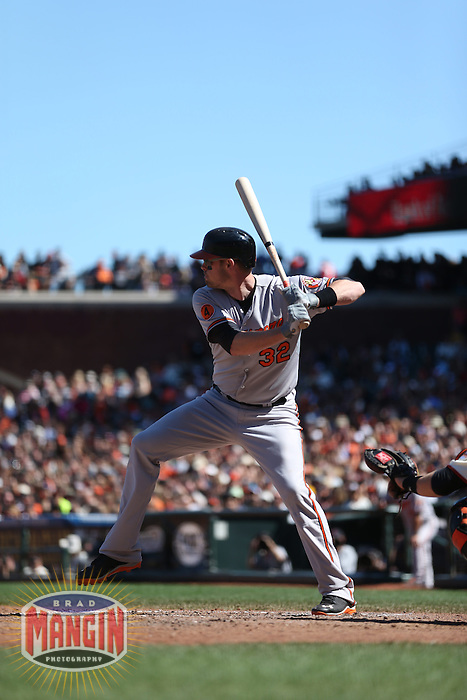 SAN FRANCISCO, CA - AUGUST 10:  Matt Wieters of the Baltimore Orioles bats during the game against the San Francisco Giants at AT&T Park on Saturday, August 10, 2013 in San Francisco, California. Photo by Brad Mangin