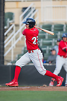 Mickey Moniak (22) of the Lakewood BlueClaws follows through on his swing against the Kannapolis Intimidators at Kannapolis Intimidators Stadium on April 6, 2017 in Kannapolis, North Carolina.  The BlueClaws defeated the Intimidators 7-5.  (Brian Westerholt/Four Seam Images)
