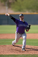 Colorado Rockies relief pitcher Scott Griggs (36) during a Minor League Spring Training game against the Chicago Cubs at Sloan Park on March 27, 2018 in Mesa, Arizona. (Zachary Lucy/Four Seam Images)