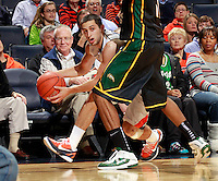 CHARLOTTESVILLE, VA- DECEMBER 6: Sammy Zeglinski #13 of the Virginia Cavaliers drives into Vertrail Vaughns #11 of the George Mason Patriots during the game on December 6, 2011 at the John Paul Jones Arena in Charlottesville, Virginia. Virginia defeated George Mason 68-48.(Photo by Andrew Shurtleff/Getty Images) *** Local Caption *** Vertrail Vaughns;Sammy Zeglinski
