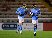 Manchester City U21's Keyendrah Simmonds celebrates scoring his side's equalising goal to make the score 1-1<br /> <br /> Photographer Chris Vaughan/CameraSport<br /> <br /> EFL Papa John's Trophy - Northern Section - Group E - Lincoln City v Manchester City U21 - Tuesday 17th November 2020 - LNER Stadium - Lincoln<br />  <br /> World Copyright © 2020 CameraSport. All rights reserved. 43 Linden Ave. Countesthorpe. Leicester. England. LE8 5PG - Tel: +44 (0) 116 277 4147 - admin@camerasport.com - www.camerasport.com