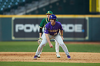 Collier Cranford (16) of the LSU Tigers takes his lead off of first base against the Baylor Bears in game five of the 2020 Shriners Hospitals for Children College Classic at Minute Maid Park on February 28, 2020 in Houston, Texas. The Bears defeated the Tigers 6-4. (Brian Westerholt/Four Seam Images)