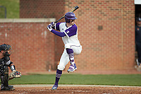 Ryan Russell (9) of the High Point Panthers at bat against the Campbell Camels at Williard Stadium on March 16, 2019 in  Winston-Salem, North Carolina. The Camels defeated the Panthers 13-8. (Brian Westerholt/Four Seam Images)