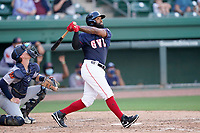 Shortstop Danny Santana (6) of the Greenville Drive during a game against the Bowling Green Hot Rods on Thursday, May 6, 2021, at Fluor Field at the West End in Greenville, South Carolina. The catcher is Blake Hunt (12). (Tom Priddy/Four Seam Images)
