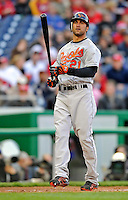 29 March 2008: Baltimore Orioles' outfielder Nick Markakis in action during an exhibition game against the Washington Nationals at Nationals Park, in Washington, DC. The matchup was the first professional baseball game played in the new Nationals Park, prior to the upcoming official opening day inaugural game. The Nationals defeated the Orioles 3-0...Mandatory Photo Credit: Ed Wolfstein Photo