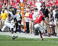 The Georgia Bulldogs beat the App State Mountaineers 45-6 in their homecoming game.  After a close first half, UGA scored 31 unanswered points in the second half.  Georgia Bulldogs wide receiver Rhett McGowan (27), Appalachian State Mountaineers defensive back Alex Gray (3)