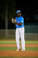 Jeffery Waters (13) during the WWBA World Championship at Terry Park on October 7, 2020 in Fort Myers, Florida.  Jeffery Waters, a resident of Mableton, Georgia who attends South Cobb High School, is committed to Maryland.  (Mike Janes/Four Seam Images)