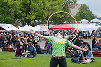 Girl performing with hula hoop, Northwest Folklife Festival 2016, Seattle Center, Washington, USA.