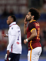Calcio, Serie A: Roma vs Bologna. Roma, stadio Olimpico, 11 aprile 2016.<br /> Roma's Mohamed Salah celebrates after scoring during the Italian Serie A football match between Roma and Bologna at Rome's Olympic stadium, 11 April 2016.<br /> UPDATE IMAGES PRESS/Isabella Bonotto