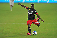 WASHINGTON, DC - SEPTEMBER 12: Mohammed Abu #25 of D.C. United passes off the ball during a game between New York Red Bulls and D.C. United at Audi Field on September 12, 2020 in Washington, DC.