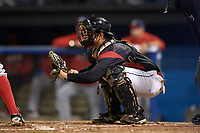Batavia Muckdogs catcher Michael Hernandez (4) awaits the pitch during a game against the Auburn Doubledays on September 6, 2017 at Dwyer Stadium in Batavia, New York.  Auburn defeated Batavia 6-3.  (Mike Janes/Four Seam Images)