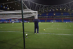 Bolton Wanderers 3 Liverpool 1, 21/01/2012. Reebok Stadium, Premier League. The groundsman taking down the goal nets at the Reebok Stadium, after Bolton Wanderers took on Liverpool in a Barclays Premier League game. The match was won by Bolton by 3 goals to 1, watched by a near-capacity crowd of 26,854. The win lifted Bolton out of the relegation places in England's top division, while Liverpool remained seventh. Photo by Colin McPherson.