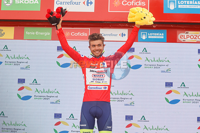 Odd Christian Eiking (NOR) Intermarché-Wanty-Gobert Matériaux is the new race leader after Stage 10 of La Vuelta d'Espana 2021, running 189km from Roquetas de Mar to Rincón de la Victoria, Spain. 24th August 2021.     <br /> Picture: Luis Angel Gomez/Photogomezsport | Cyclefile<br /> <br /> All photos usage must carry mandatory copyright credit (© Cyclefile | Luis Angel Gomez/Photogomezsport)