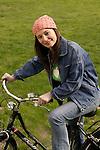 Milano 24/3/2004.Ragazza in bicicletta